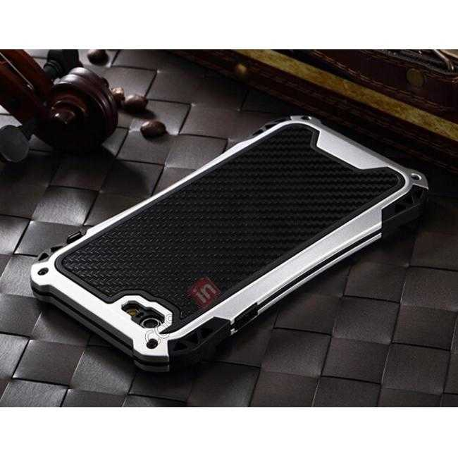 cheap Shockproof Aluminum metal Cover Case With Tempered Glass Screen For iPhone 6S 4.7inch - Silver/Black