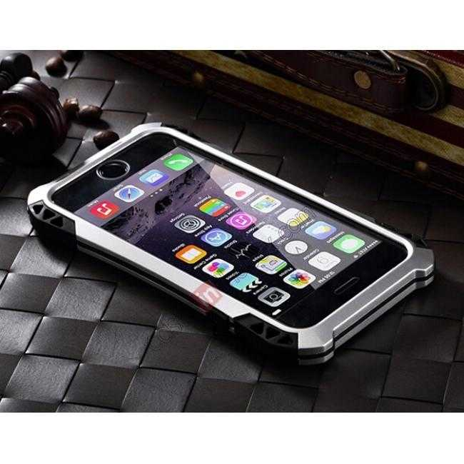 top quality Shockproof Aluminum metal Cover Case With Tempered Glass Screen For iPhone 6S 4.7inch - Silver/Black