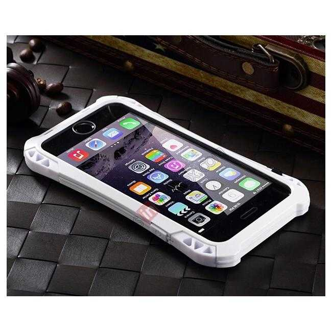 cheap Shockproof Aluminum metal Cover Case With Tempered Glass Screen For iPhone 6S 4.7inch - White