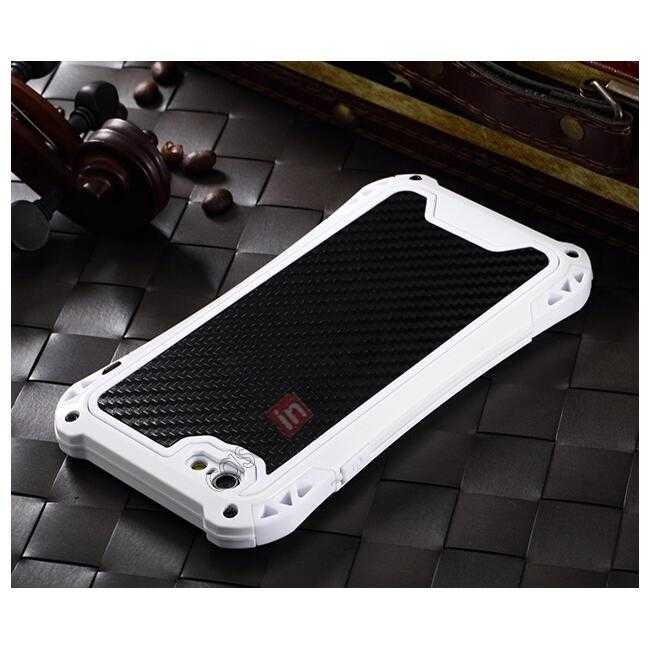 top quality Shockproof Aluminum metal Cover Case With Tempered Glass Screen For iPhone 6S 4.7inch - White