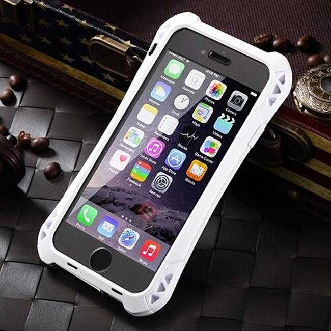 discount Shockproof Aluminum metal Cover Case With Tempered Glass Screen For iPhone 6S 4.7inch - White