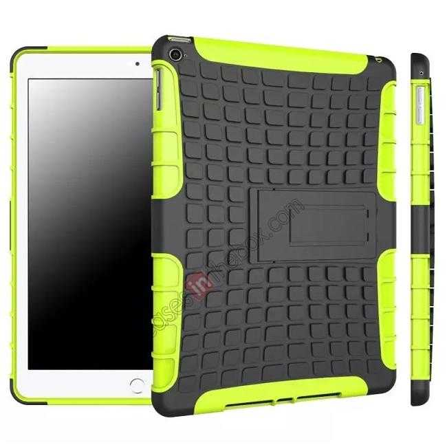 wholesale Shockproof TPU Hybrid Hard Kickstand Case Cover For iPad Air 2 - Green