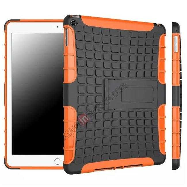 wholesale Shockproof TPU Hybrid Hard Kickstand Case Cover For iPad Air 2 - Orange