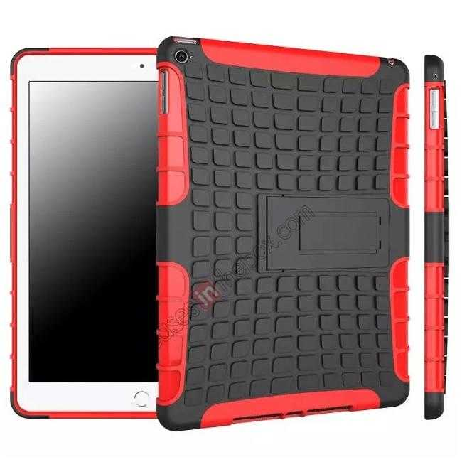 wholesale Shockproof TPU Hybrid Hard Kickstand Case Cover For iPad Air 2 - Red