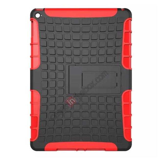 discount Shockproof TPU Hybrid Hard Kickstand Case Cover For iPad Air 2 - Red