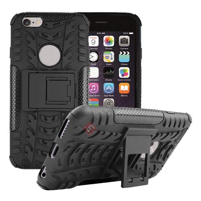 wholesale Hyun Pattern Hard Plastic Soft TPU Combo Stand Case For iPhone 6 4.7inch - Black