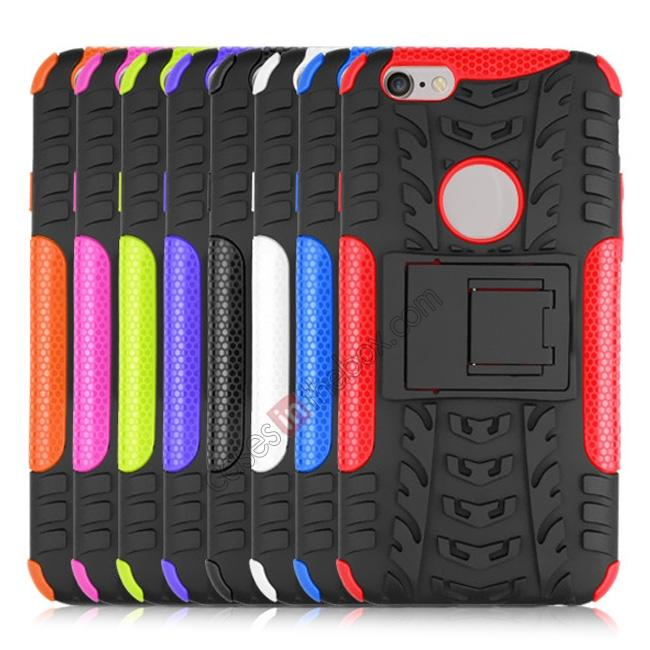 cheap Hyun Pattern Hard Plastic Soft TPU Combo Stand Case For iPhone 6 4.7inch - Black