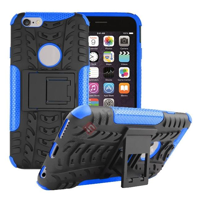 wholesale Hyun Pattern Hard Plastic Soft TPU Combo Stand Case For iPhone 6 4.7inch - Blue