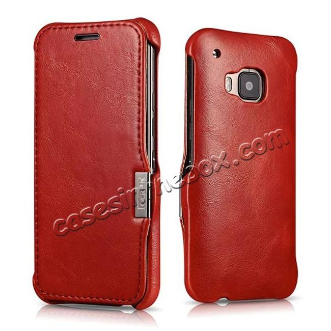 wholesale ICARER Vintage Series Genuine Cowhide Leather Magnetic Flip Case For HTC One M9 - Red