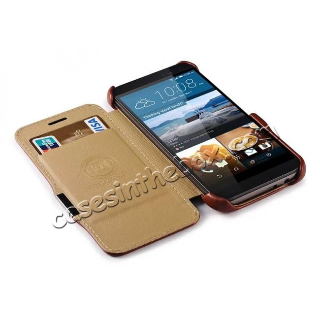 top quality ICARER Vintage Series Genuine Cowhide Leather Magnetic Flip Case For HTC One M9 - Red