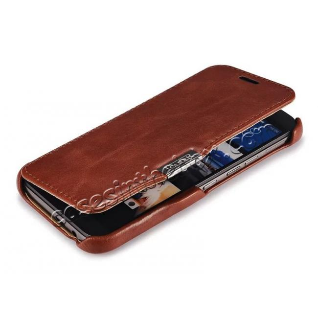 cheap ICARER Vintage Series Genuine Cowhide Leather Magnetic Flip Case For HTC One M9 - Red