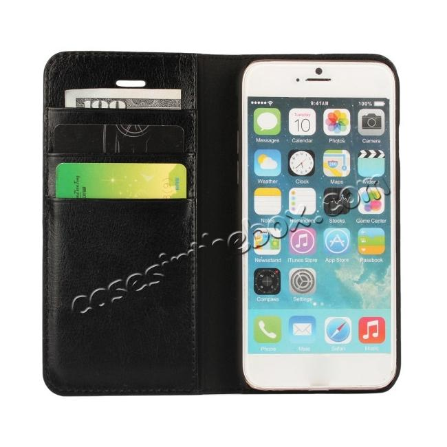 top quality Crazy Horse Genuine Leather Wallet Stand Case for iPhone 6/6S 4.7inch - Black