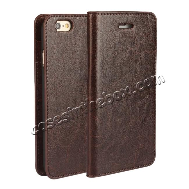 wholesale Crazy Horse Genuine Leather Wallet Stand Case for iPhone 6/6S 4.7inch - Coffee