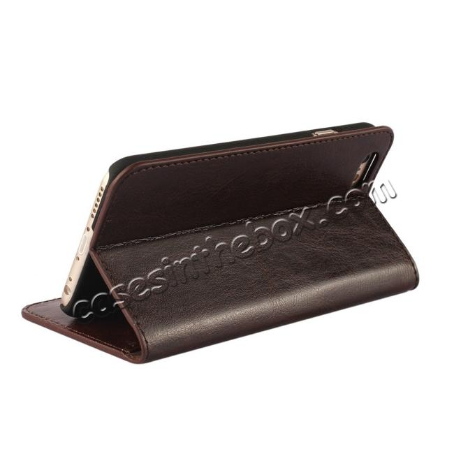 top quality Crazy Horse Genuine Leather Wallet Stand Case for iPhone 6/6S 4.7inch - Coffee