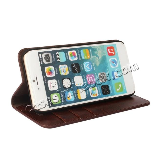 best price Crazy Horse Genuine Leather Wallet Stand Case for iPhone 6/6S 4.7inch - Coffee