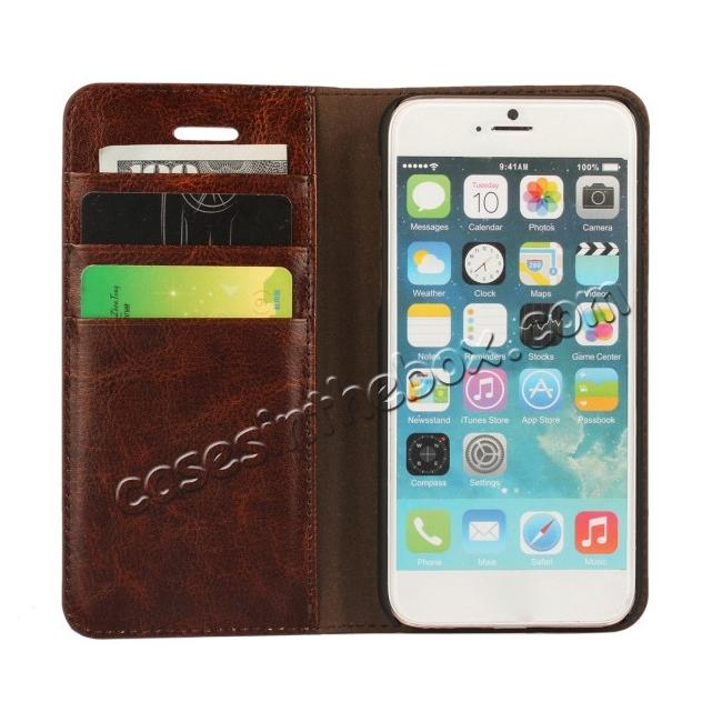 on sale Crazy Horse Genuine Leather Wallet Stand Case for iPhone 6/6S 4.7inch - Coffee