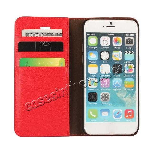 top quality Crazy Horse Genuine Leather Wallet Stand Case for iPhone 6/6S 4.7inch - Red