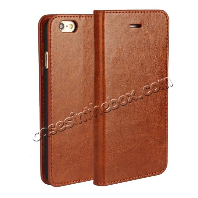 wholesale Crazy Horse Genuine Leather Wallet Stand Case for iPhone 6 Plus/6S Plus 5.5inch - Brown