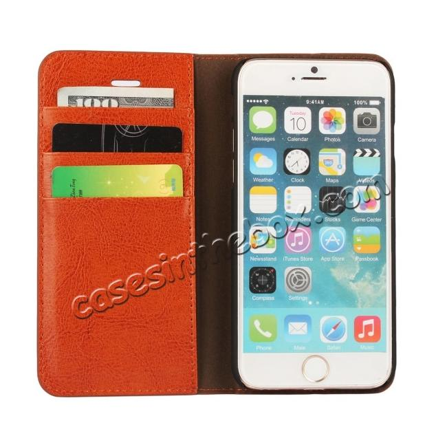 top quality Crazy Horse Genuine Leather Wallet Stand Case for iPhone 6 Plus/6S Plus 5.5inch - Brown