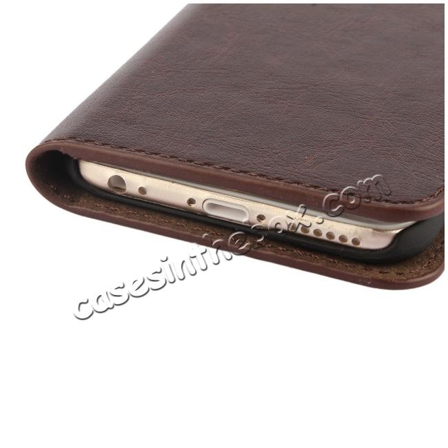 best price Crazy Horse Genuine Leather Wallet Stand Case for iPhone 6 Plus/6S Plus 5.5inch - Brown