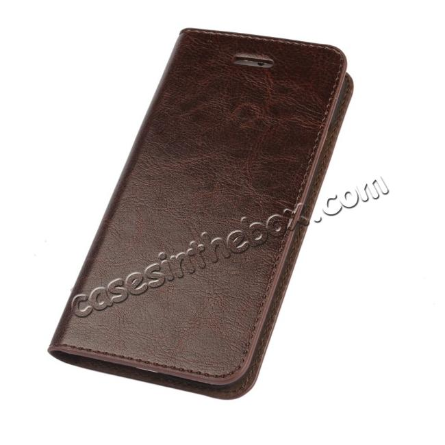 discount Crazy Horse Genuine Leather Wallet Stand Case for iPhone 6 Plus/6S Plus 5.5inch - Coffee