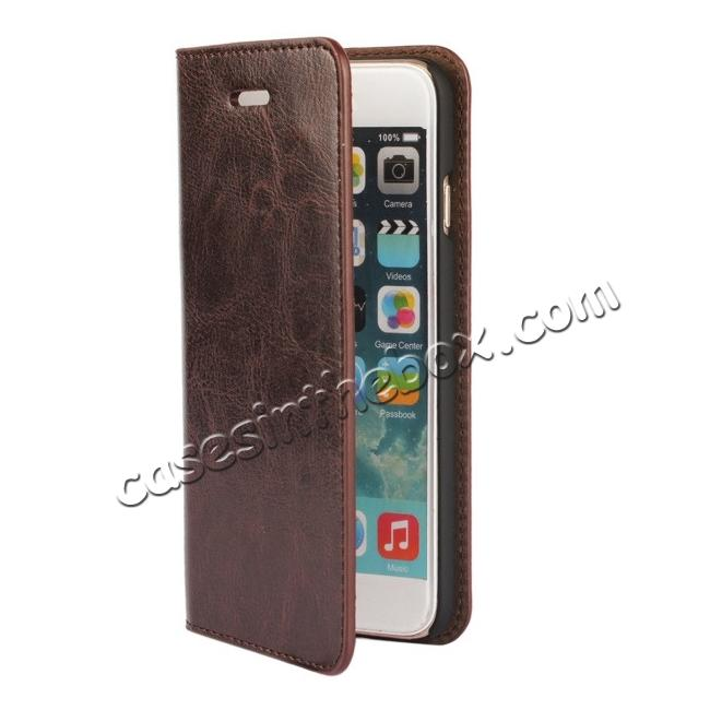 cheap Crazy Horse Genuine Leather Wallet Stand Case for iPhone 6 Plus/6S Plus 5.5inch - Coffee