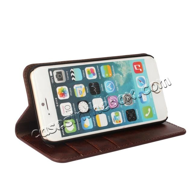 best price Crazy Horse Genuine Leather Wallet Stand Case for iPhone 6 Plus/6S Plus 5.5inch - Coffee