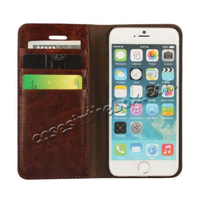 on sale Crazy Horse Genuine Leather Wallet Stand Case for iPhone 6 Plus/6S Plus 5.5inch - Coffee