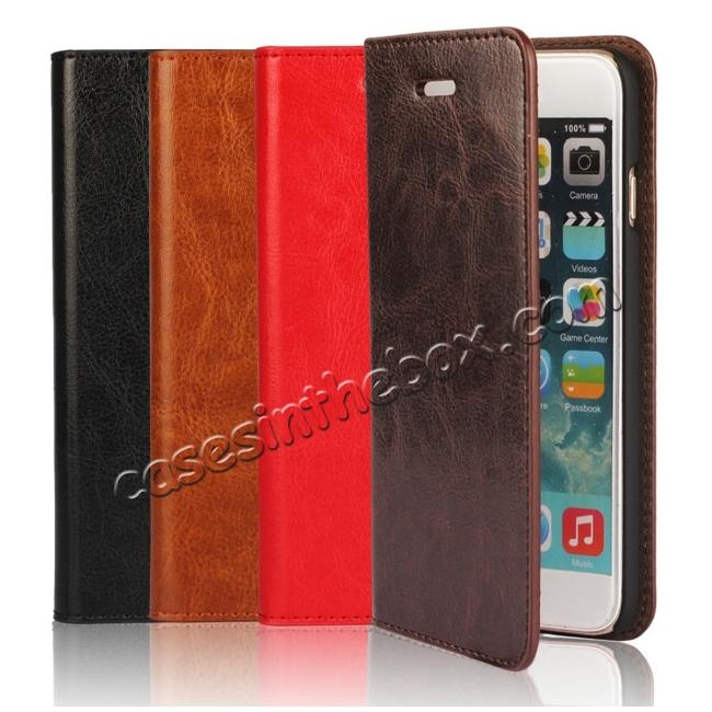 low price Crazy Horse Genuine Leather Wallet Stand Case for iPhone 6 Plus/6S Plus 5.5inch - Coffee