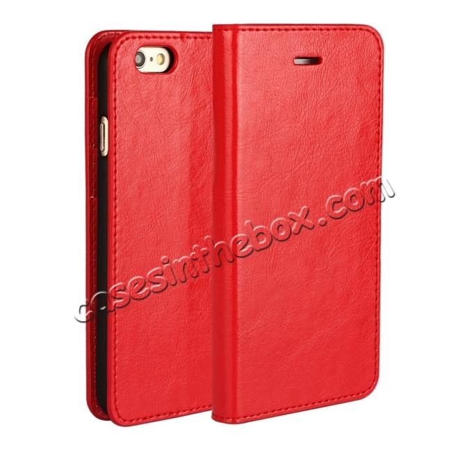 wholesale Crazy Horse Genuine Leather Wallet Stand Case for iPhone 6 Plus/6S Plus 5.5inch - Red