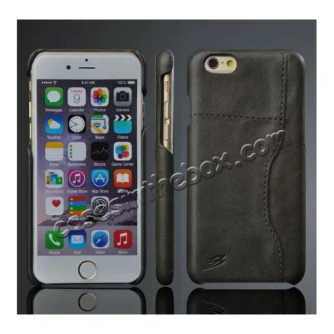 wholesale Genuine Cowhide Leather Back Case Cover for iPhone 6/6S 4.7 Inch With Credit Card holder - Black