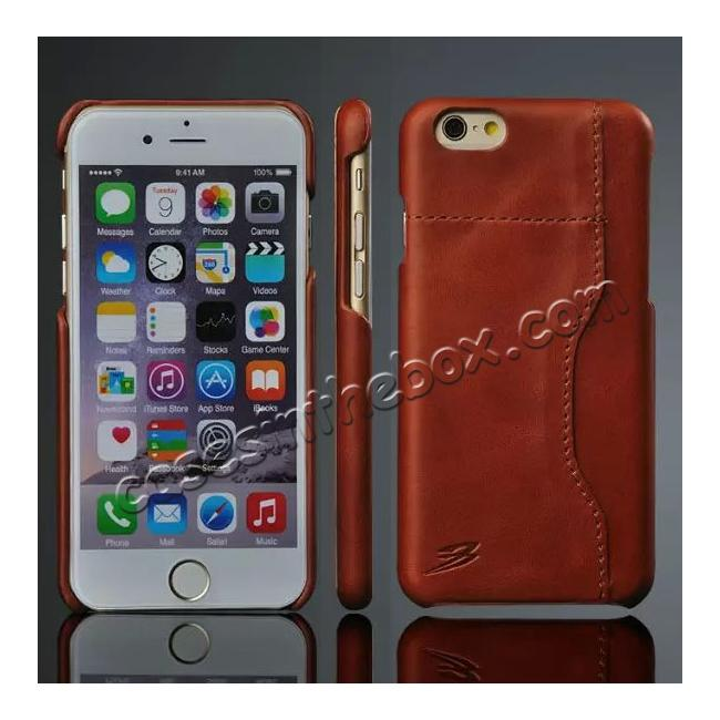 wholesale Genuine Cowhide Leather Back Case Cover for iPhone 6/6S 4.7 Inch With Credit Card holder - Brown