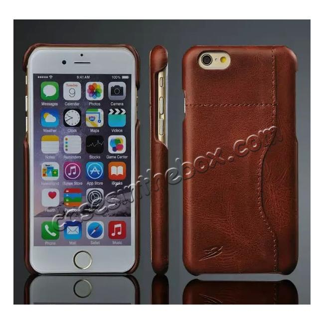 wholesale Genuine Cowhide Leather Back Case Cover for iPhone 6/6S 4.7 Inch With Credit Card holder - Dark Brown