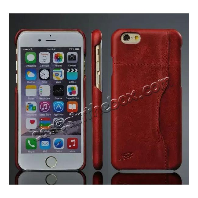 wholesale Genuine Cowhide Leather Back Case Cover for iPhone 6/6S 4.7 Inch With Credit Card holder - Red