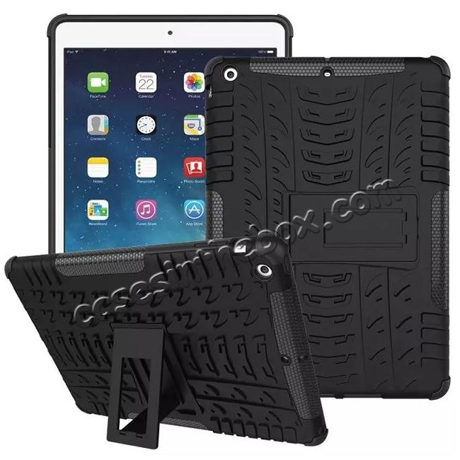 discount Hyun Pattern Dual Layer Hybrid Protective Case with Stand For iPad AIR/iPad 5 - Black