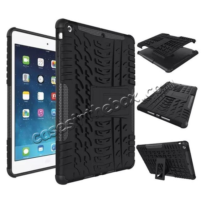 wholesale Hyun Pattern Dual Layer Hybrid Protective Case with Stand For iPad AIR/iPad 5 - Black