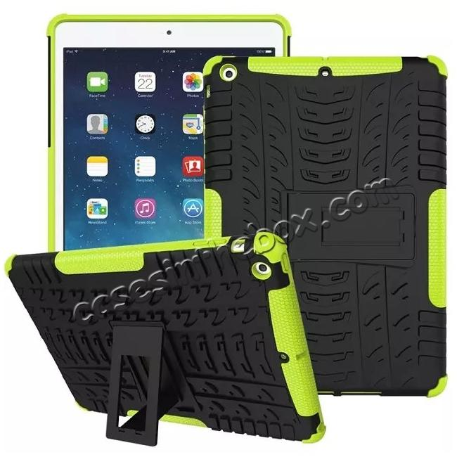 discount Hyun Pattern Dual Layer Hybrid Protective Case with Stand For iPad AIR/iPad 5 - Green