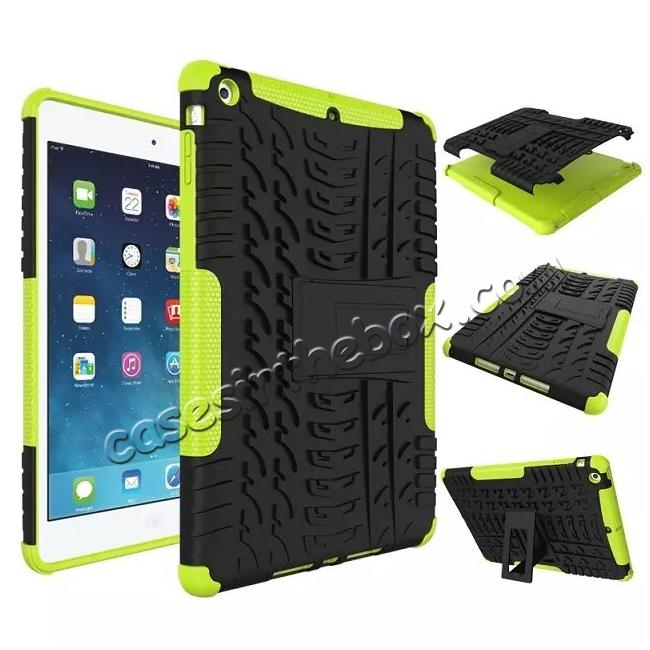 wholesale Hyun Pattern Dual Layer Hybrid Protective Case with Stand For iPad AIR/iPad 5 - Green