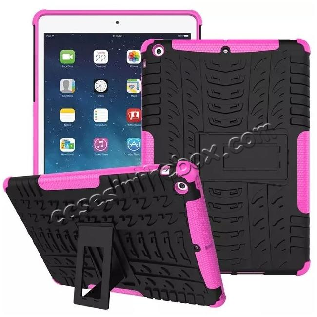 discount Hyun Pattern Dual Layer Hybrid Protective Case with Stand For iPad AIR/iPad 5 - Hot pink