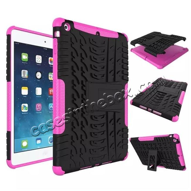 wholesale Hyun Pattern Dual Layer Hybrid Protective Case with Stand For iPad AIR/iPad 5 - Hot pink