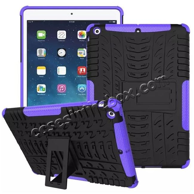 discount Hyun Pattern Dual Layer Hybrid Protective Case with Stand For iPad AIR/iPad 5 - Purple