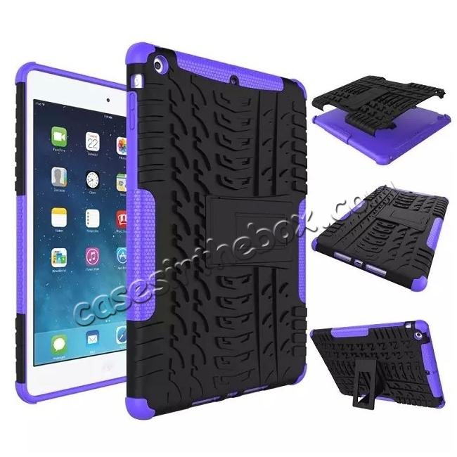 wholesale Hyun Pattern Dual Layer Hybrid Protective Case with Stand For iPad AIR/iPad 5 - Purple