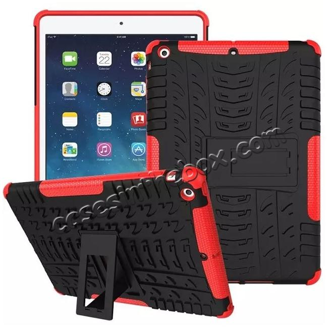 discount Hyun Pattern Dual Layer Hybrid Protective Case with Stand For iPad AIR/iPad 5 - Red