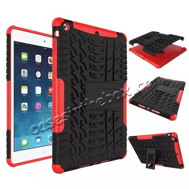 wholesale Hyun Pattern Dual Layer Hybrid Protective Case with Stand For iPad AIR/iPad 5 - Red