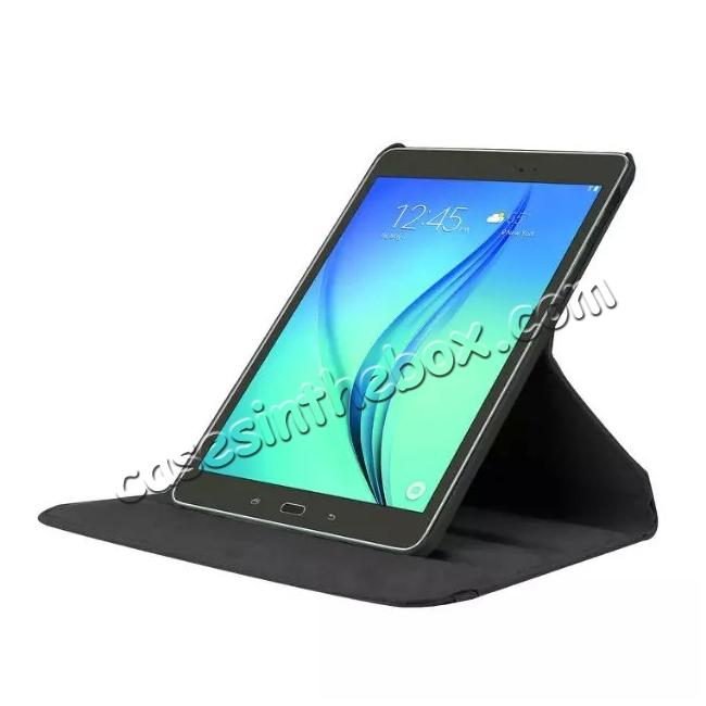 discount 360 Degree Rotating Leather Smart Case For Samsung Galaxy Tab S2 9.7 T815 - Black