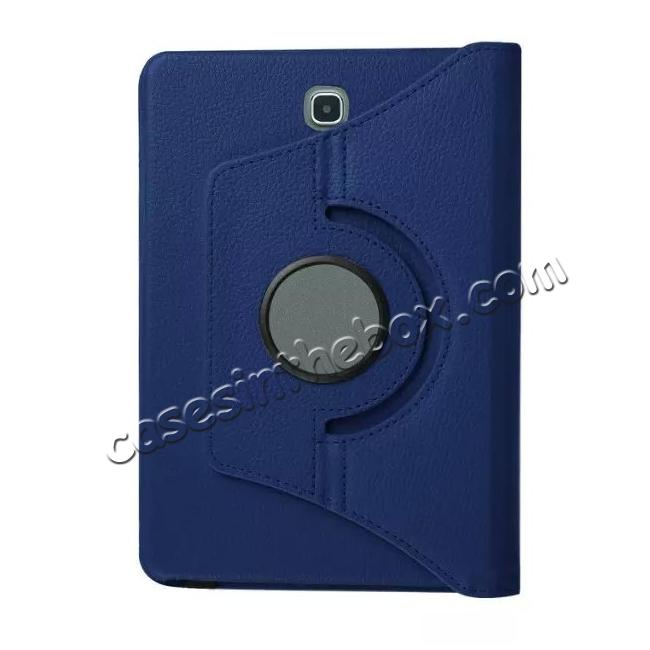 low price 360 Degree Rotating Leather Smart Case For Samsung Galaxy Tab S2 9.7 T815 - Dark blue