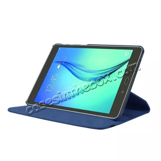discount 360 Degree Rotating Leather Smart Case For Samsung Galaxy Tab S2 9.7 T815 - Dark blue
