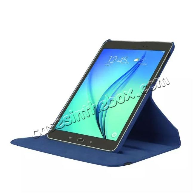 top quality 360 Degree Rotating Leather Smart Case For Samsung Galaxy Tab S2 9.7 T815 - Dark blue