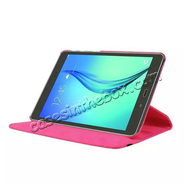 discount 360 Degree Rotating Leather Smart Case For Samsung Galaxy Tab S2 9.7 T815 - Hot pink