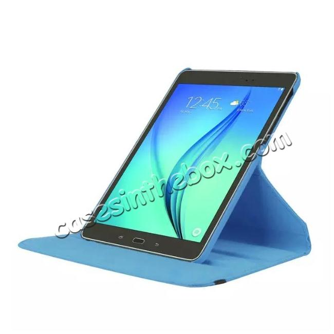 top quality 360 Degree Rotating Leather Smart Case For Samsung Galaxy Tab S2 9.7 T815 - Light blue